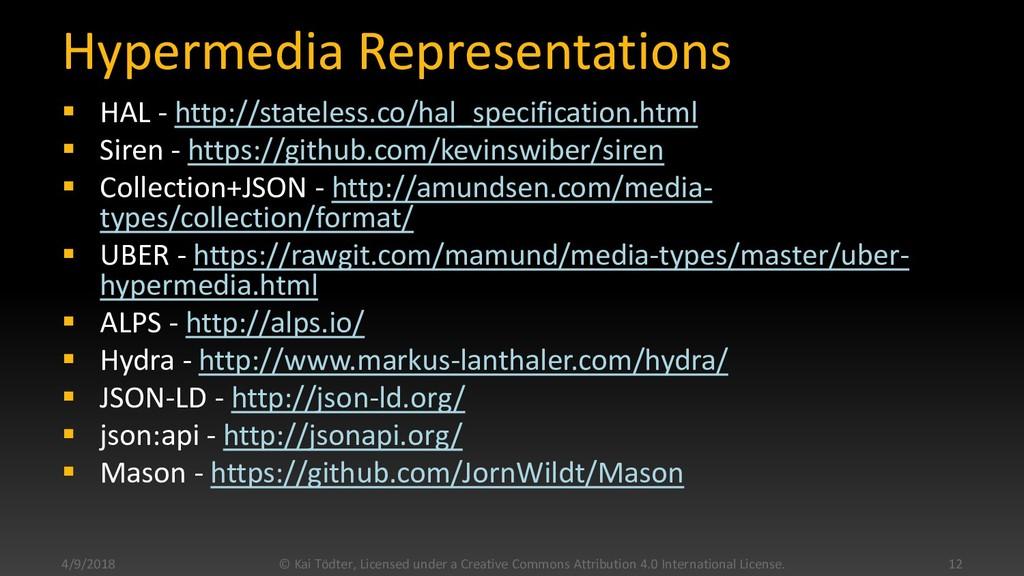 Hypermedia Representations  HAL - http://state...