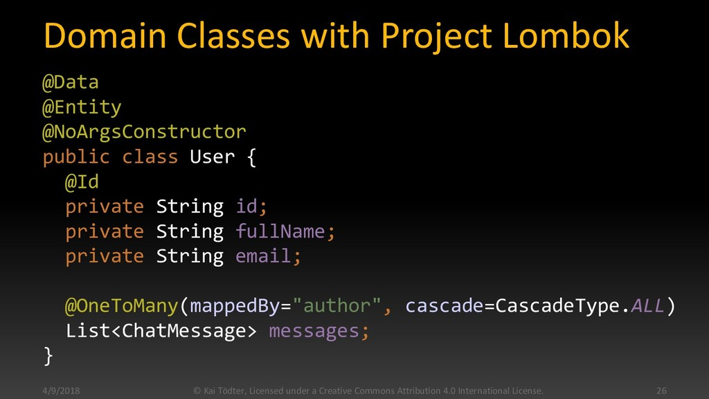 Domain Classes with Project Lombok @Data @Entit...