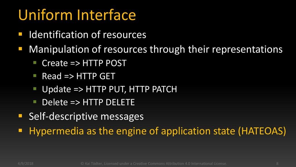 Uniform Interface  Identification of resources...