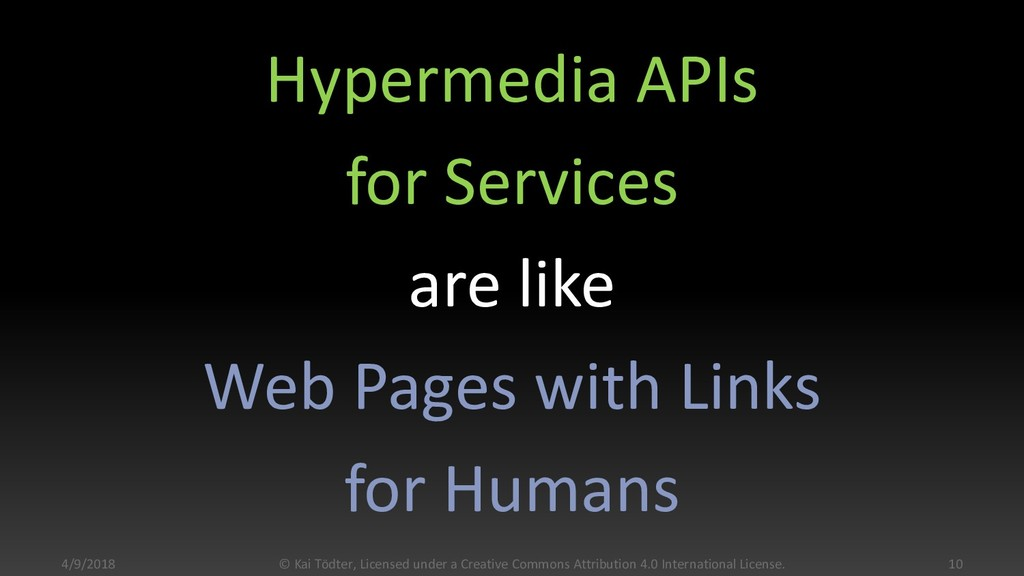 Hypermedia APIs for Services are like Web Pages...