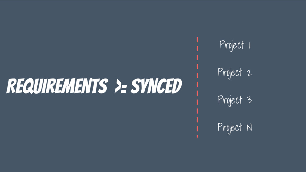 requirements >= synced Project 1 Project 2 Proj...