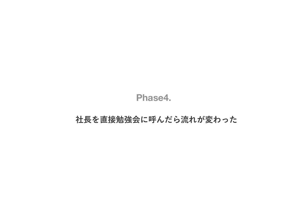 ࣾΛษڧձʹݺΜͩΒྲྀΕ͕มΘͬͨ Phase4.