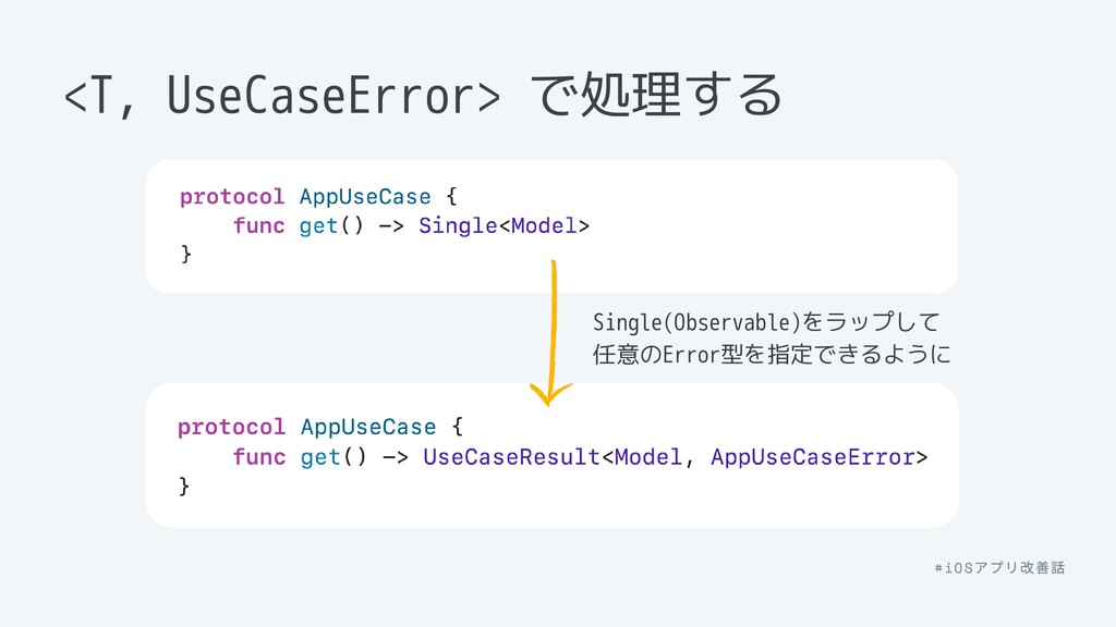 <T, UseCaseError> で処理する Single(Observable)をラップし...