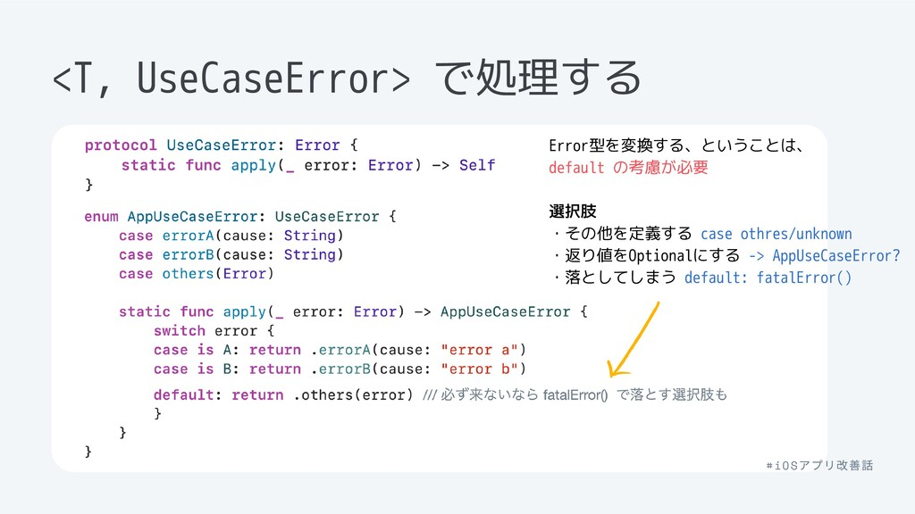 UseCaseError型に制約をかけ E.applyの振る舞いを持たせる <T, UseCa...