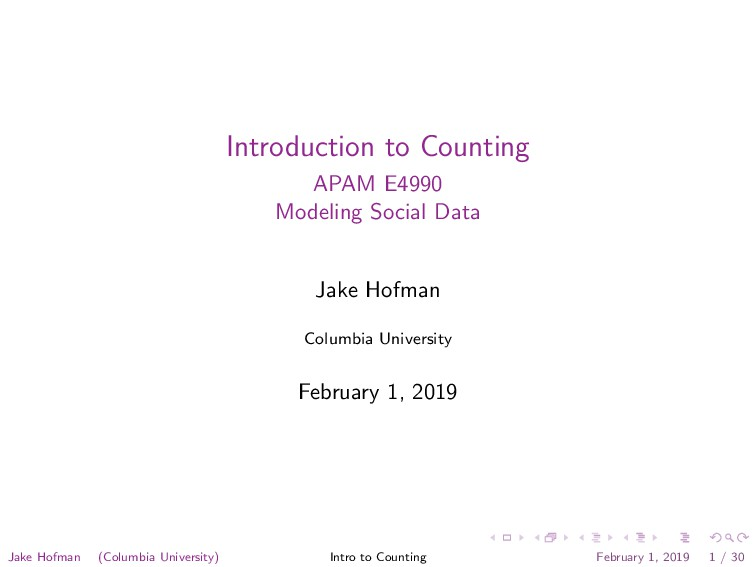 Introduction to Counting APAM E4990 Modeling So...