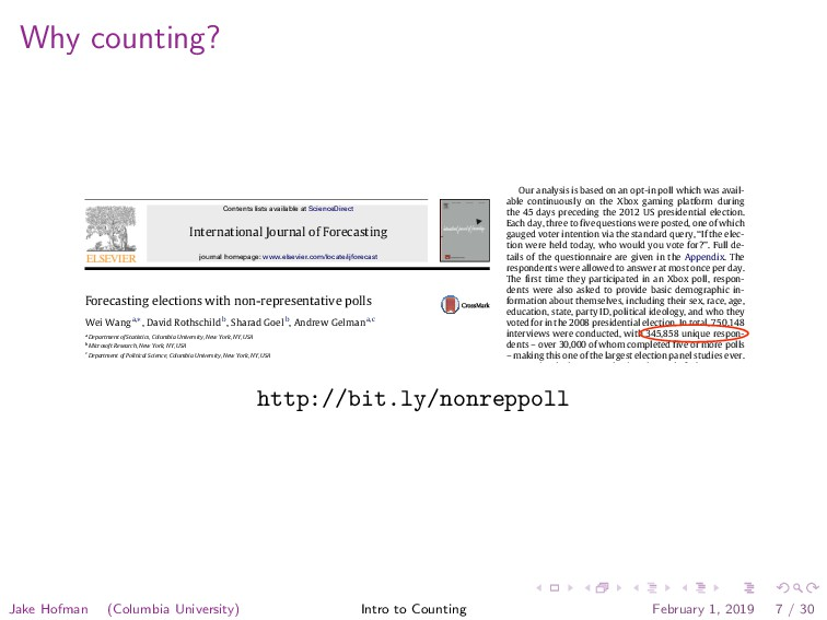 Why counting? International Journal of Forecast...