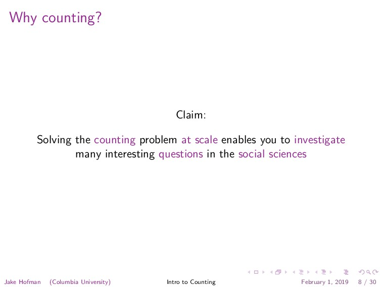 Why counting? Claim: Solving the counting probl...