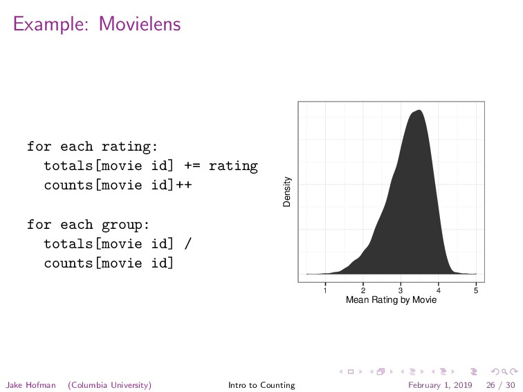 Example: Movielens for each rating: totals[movi...
