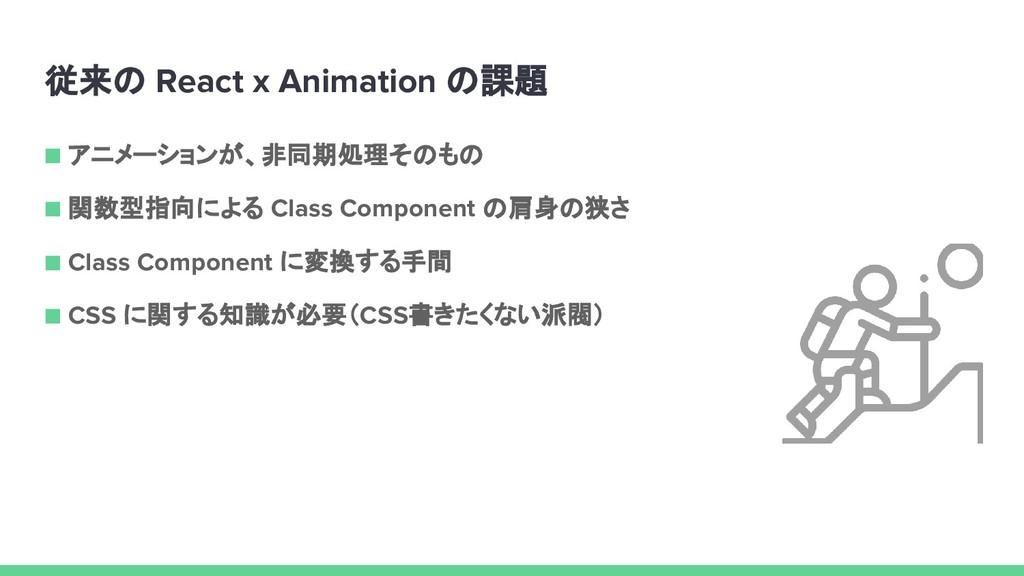 従来の React x Animation の課題 ■ アニメーションが、非同期処理そのもの ...