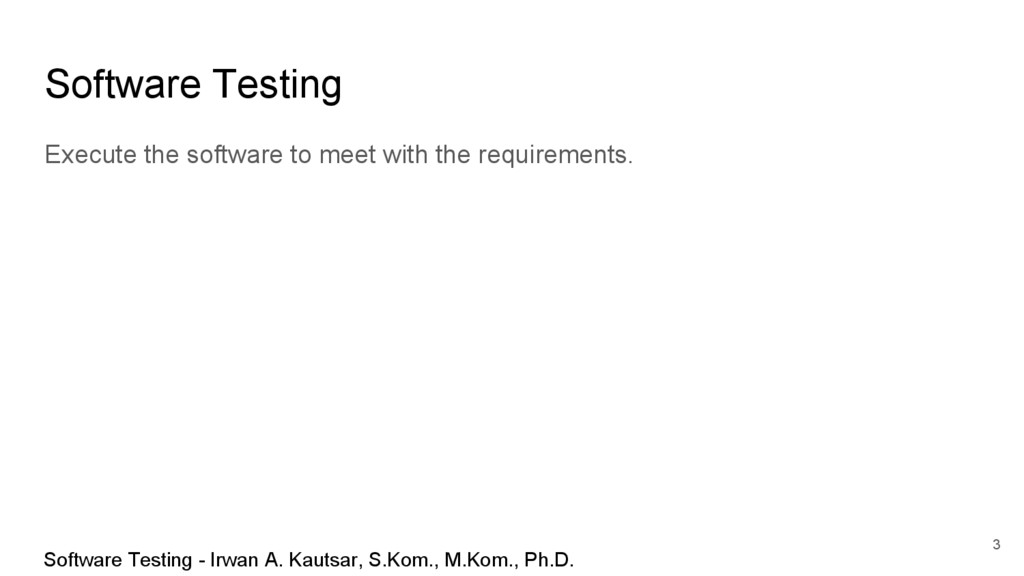Software Testing Execute the software to meet w...