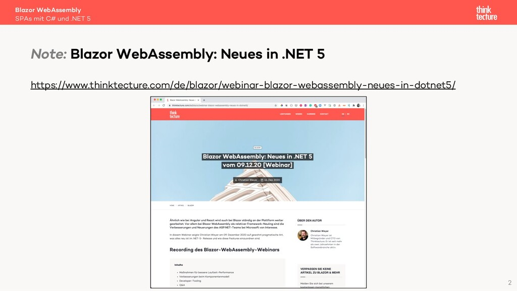2 Blazor WebAssembly SPAs mit C# und .NET 5 Not...