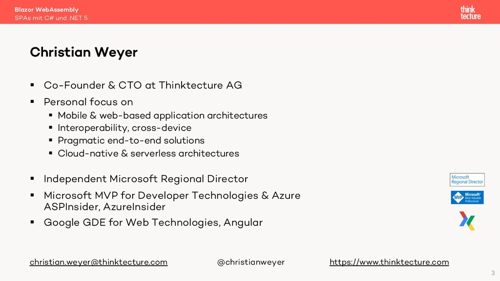 3 § Co-Founder & CTO at Thinktecture AG § Perso...