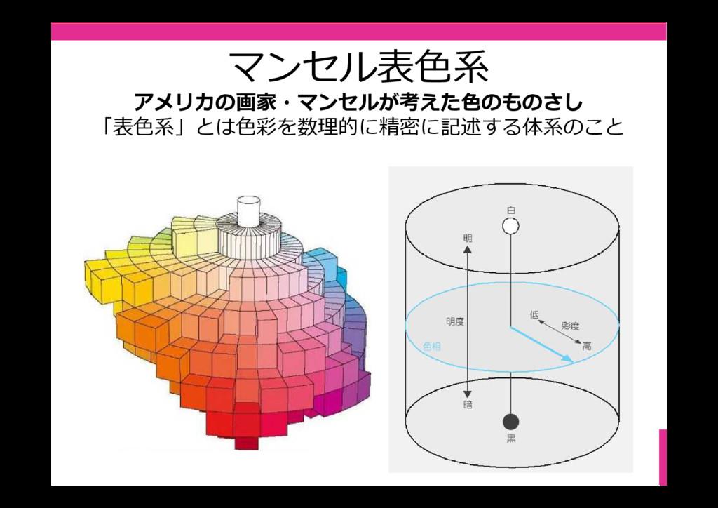 マンセル表⾊系 アメリカの画家・マンセルが考えた色のものさし 「表⾊系」とは⾊彩を数理的に精密...