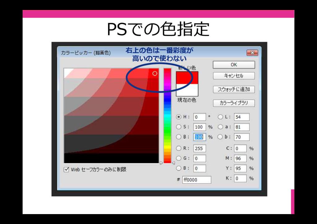 PSでの⾊指定 右上の色は⼀番彩度が ⾼いので使わない