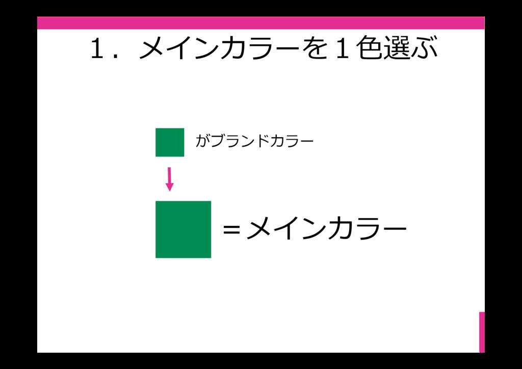 1.メインカラーを1⾊選ぶ がブランドカラー =メインカラー