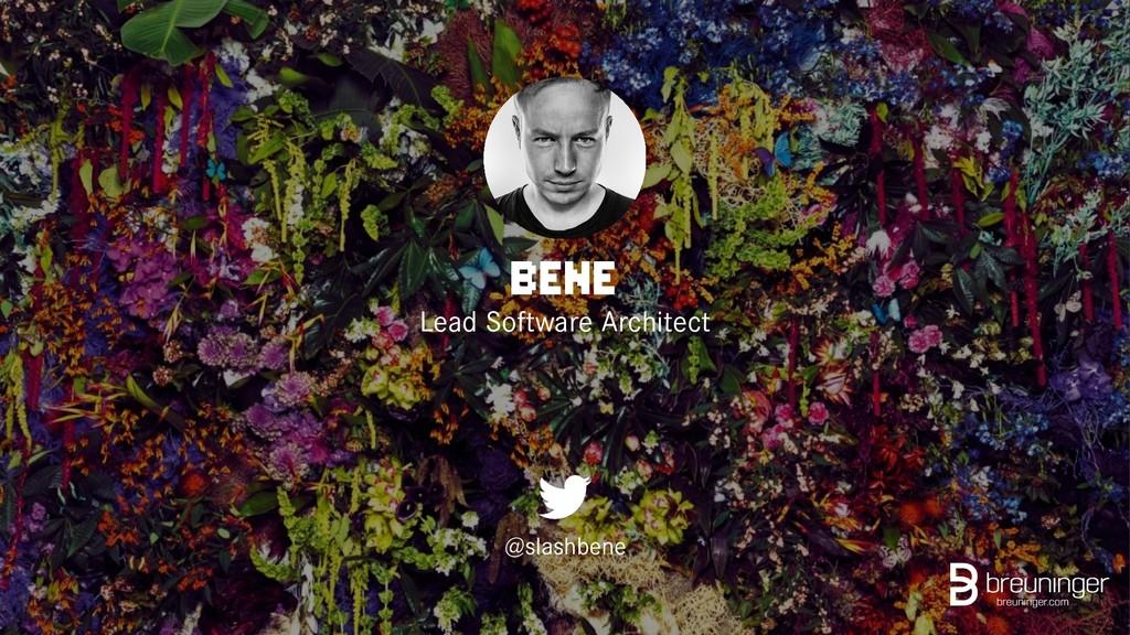 BENE Lead Software Architect @slashbene