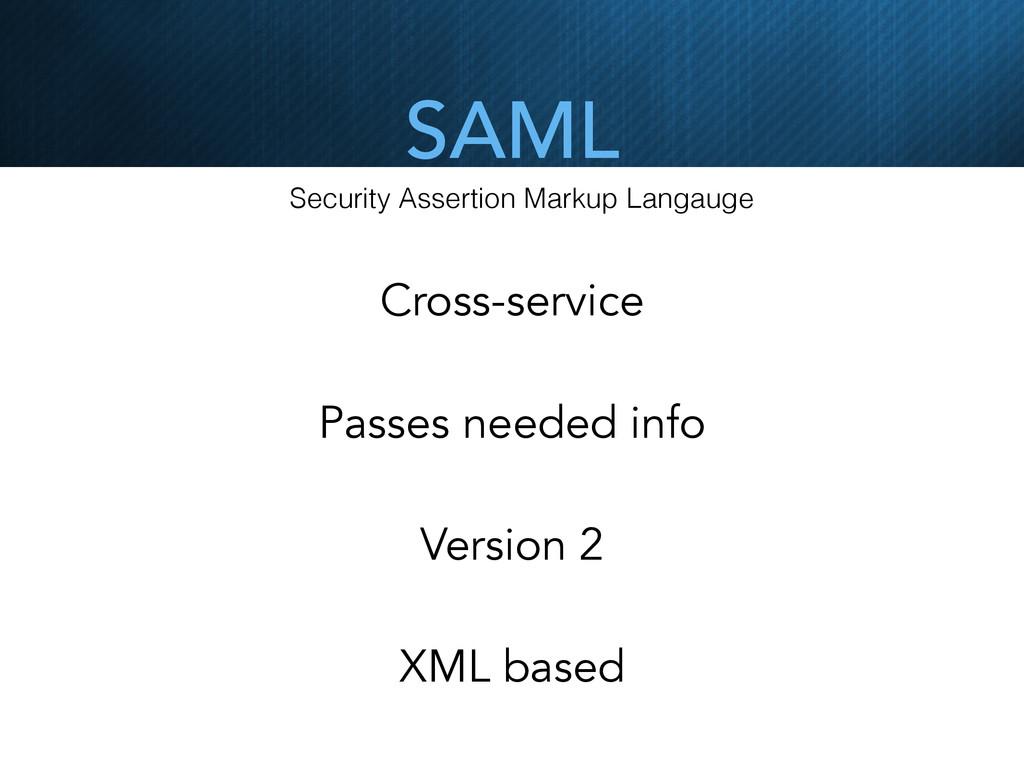 SAML Security Assertion Markup Langauge Cross-s...