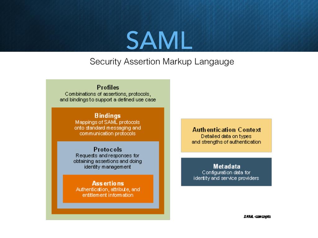 SAML Security Assertion Markup Langauge
