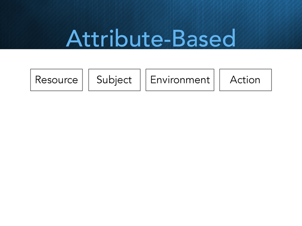 Resource Subject Environment Action Attribute-B...