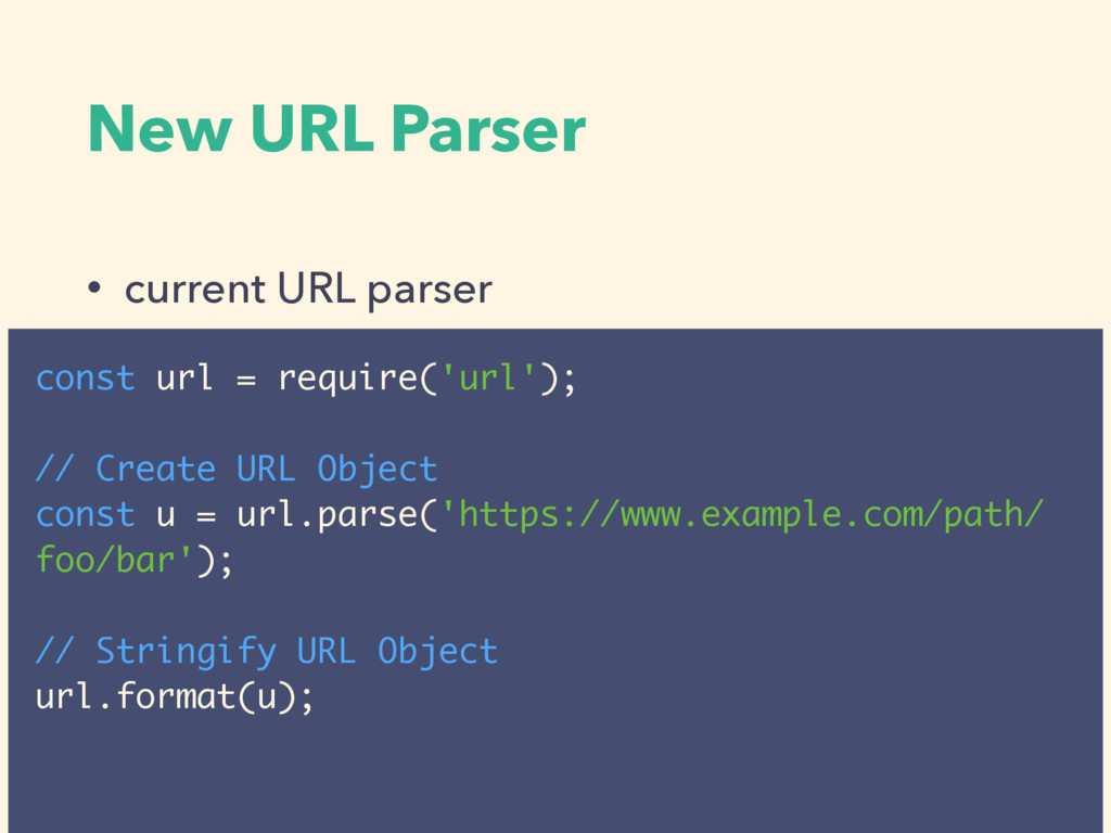 New URL Parser • current URL parser const url =...