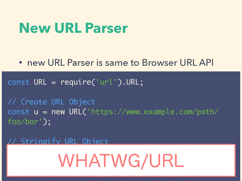 New URL Parser • new URL Parser is same to Brow...