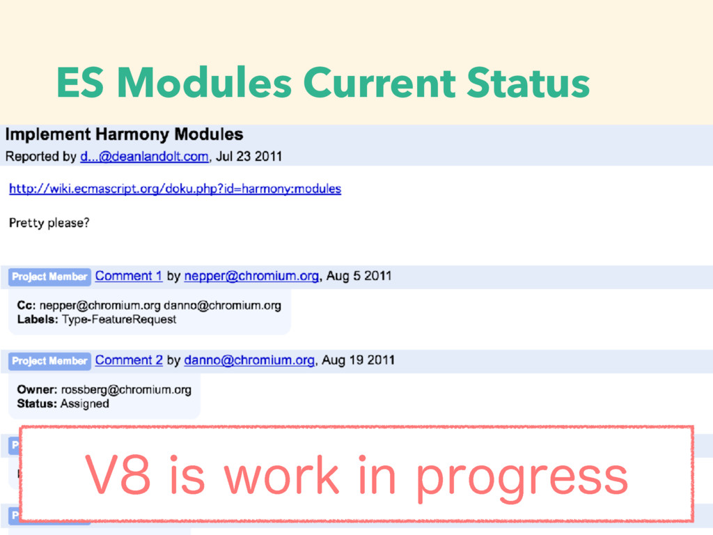ES Modules Current Status 7JTXPSLJOQSPHSFTT