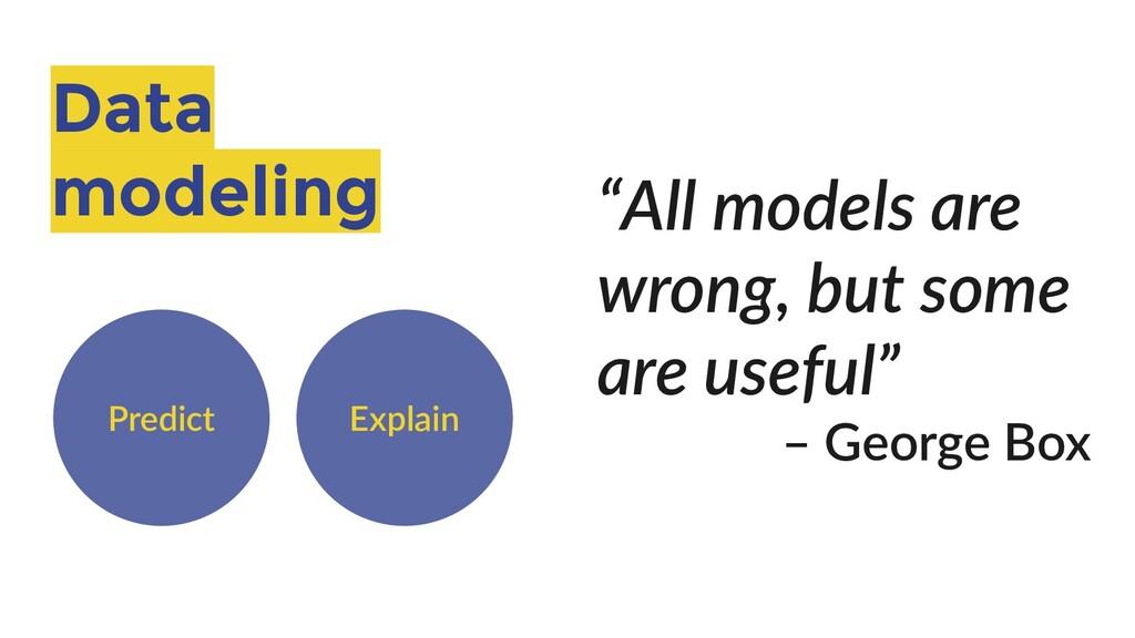 """Data modeling Predict Explain """"All models are w..."""