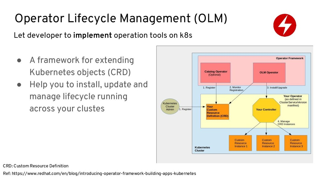 Operator Lifecycle Management (OLM) ● A framewo...