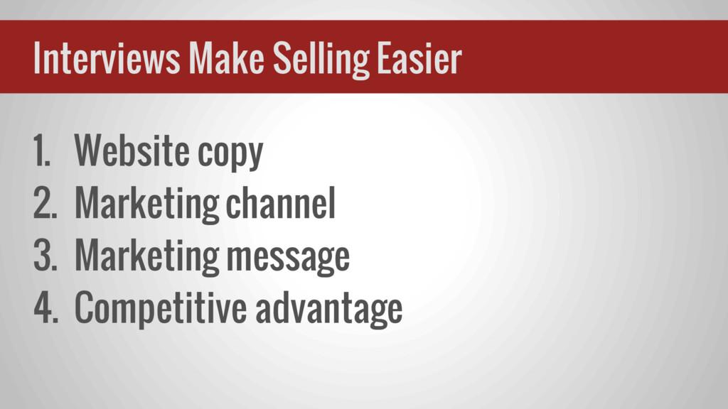 1. Website copy 2. Marketing channel 3. Marketi...
