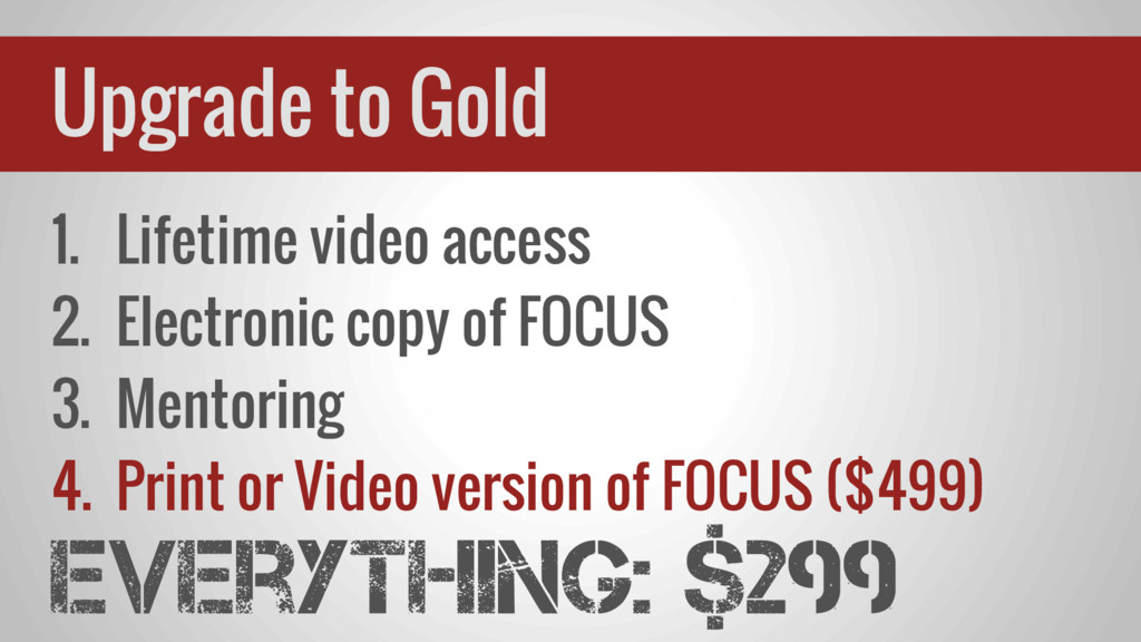 1. Lifetime video access 2. Electronic copy of ...
