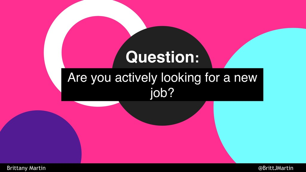 Are you actively looking for a new job? Questio...