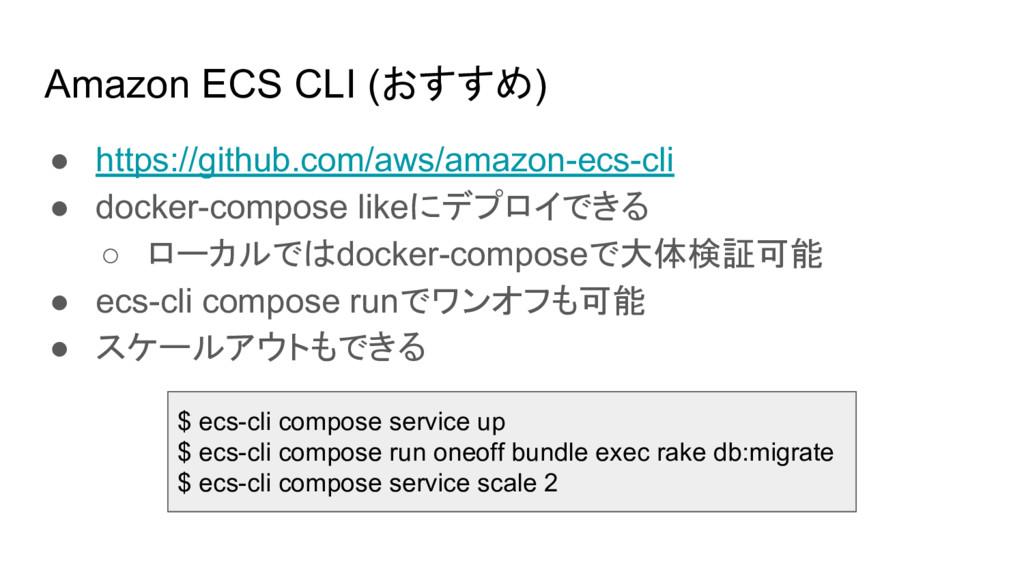 Amazon ECS CLI (おすすめ) ● https://github.com/aws/...
