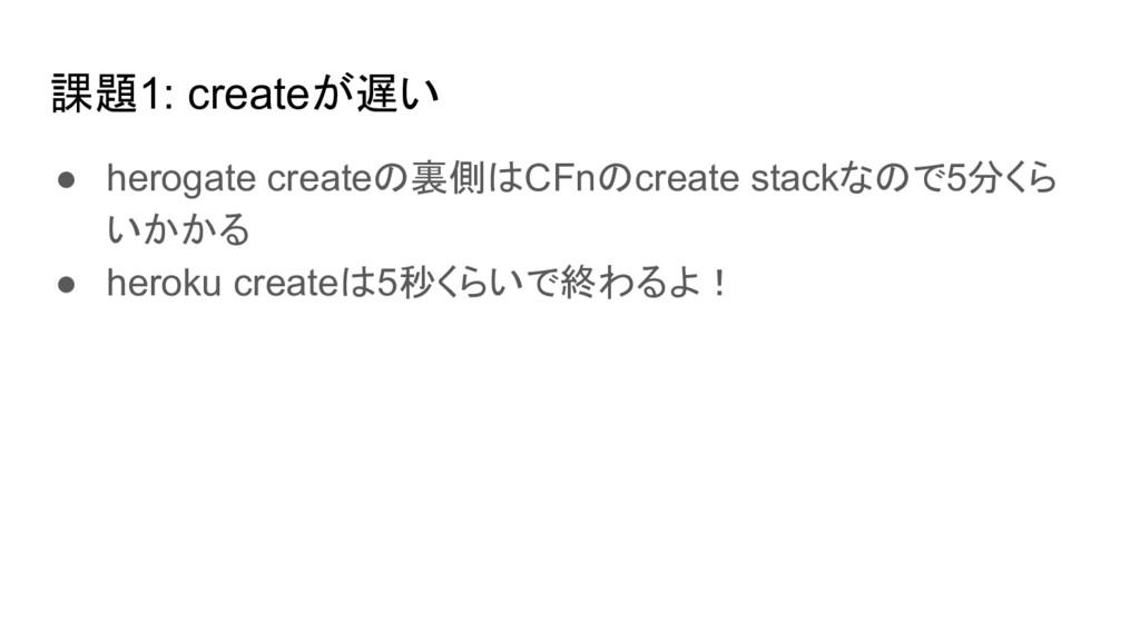 課題1: createが遅い ● herogate createの裏側はCFnのcreate ...