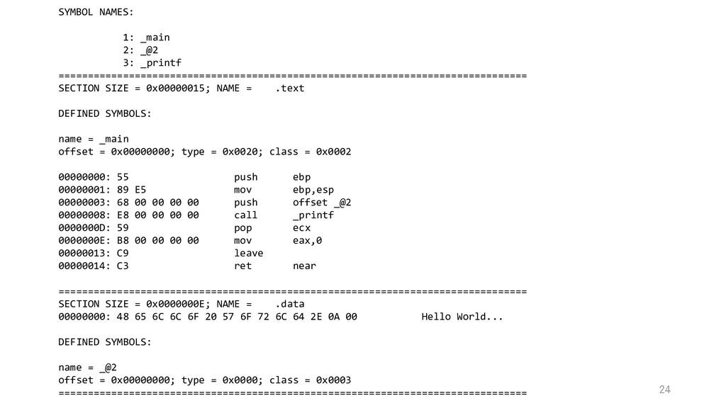 SYMBOL NAMES: 1: _main 2: _@2 3: _printf ======...