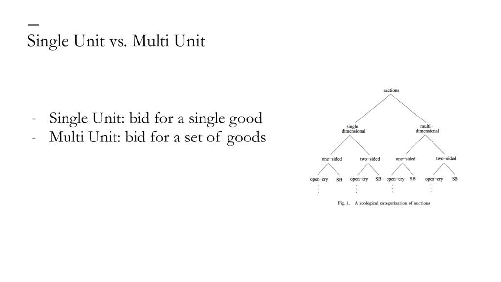 Single Unit vs. Multi Unit — - Single Unit: bid...