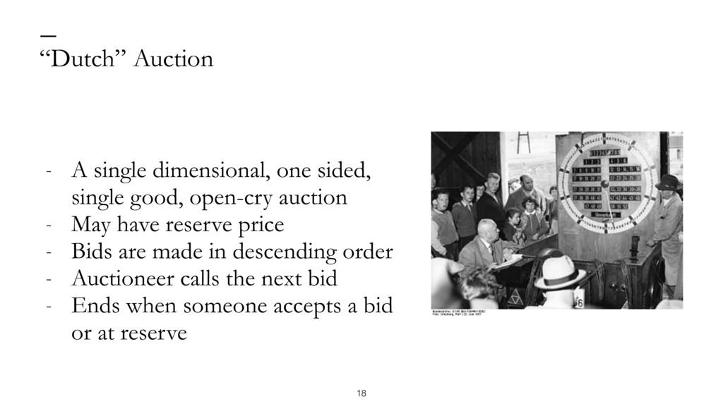 """Dutch"" Auction — - A single dimensional, one s..."