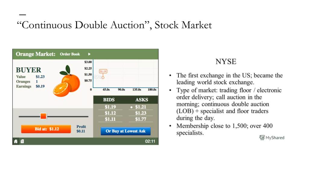 """""""Continuous Double Auction"""", Stock Market —"""