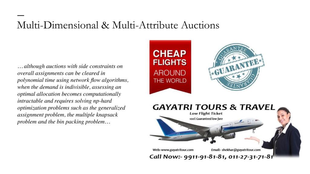 Multi-Dimensional & Multi-Attribute Auctions — ...