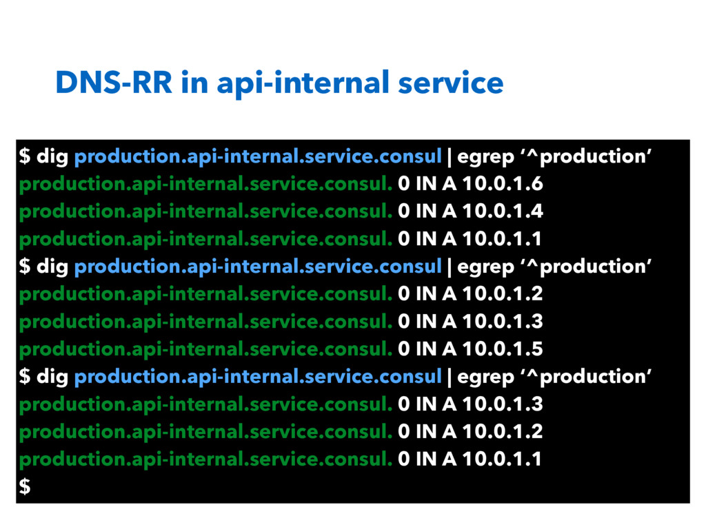 DNS-RR in api-internal service $ dig production...