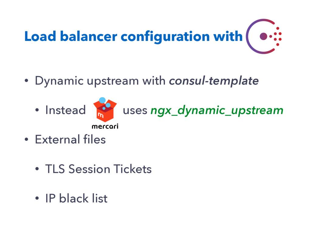 Load balancer configuration with • Dynamic upstr...