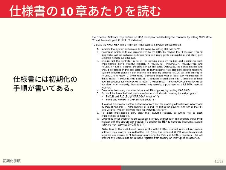 仕様書の10章あたりを読む 初期化手順 15/28 仕様書には初期化の 手順が書いてある。