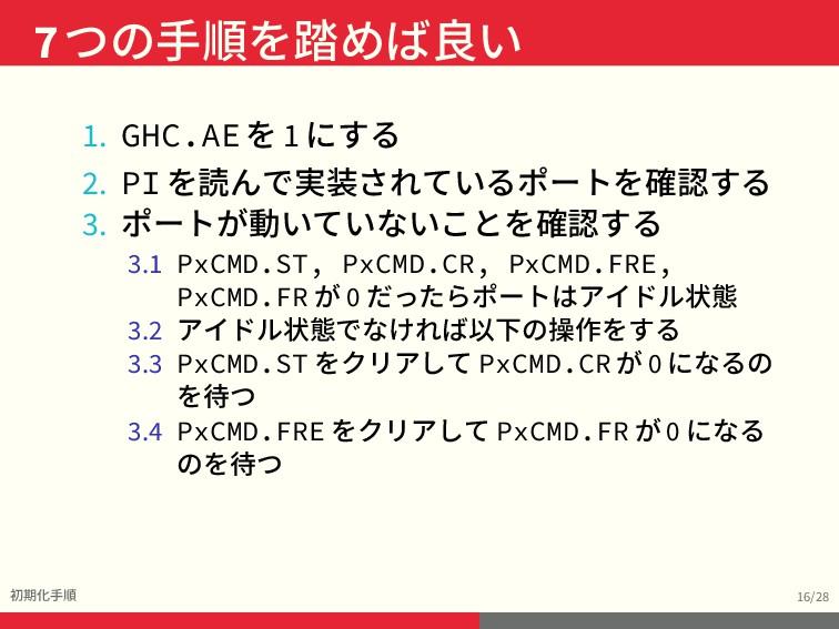 7つの手順を踏めば良い 初期化手順 16/28 1. GHC.AE を 1 にする 2. PI...