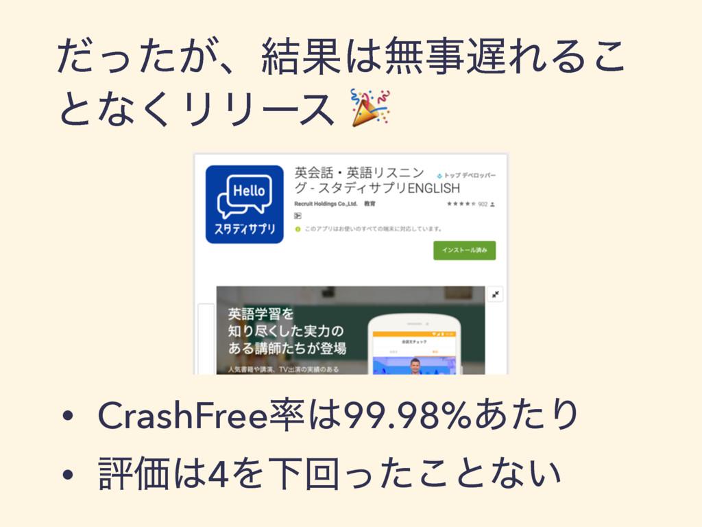 ͕ͩͬͨɺ݁ՌແΕΔ͜ ͱͳ͘ϦϦʔε • CrashFree99.98%͋ͨΓ •...