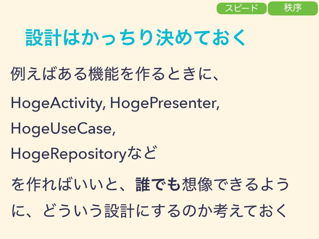 ઃܭ͔ͬͪΓܾΊ͓ͯ͘ ྫ͑͋ΔػΛ࡞Δͱ͖ʹɺ HogeActivity, HogeP...