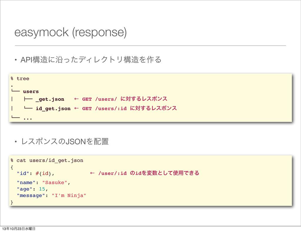 easymock (response) • APIߏʹԊͬͨσΟϨΫτϦߏΛ࡞Δ % tr...