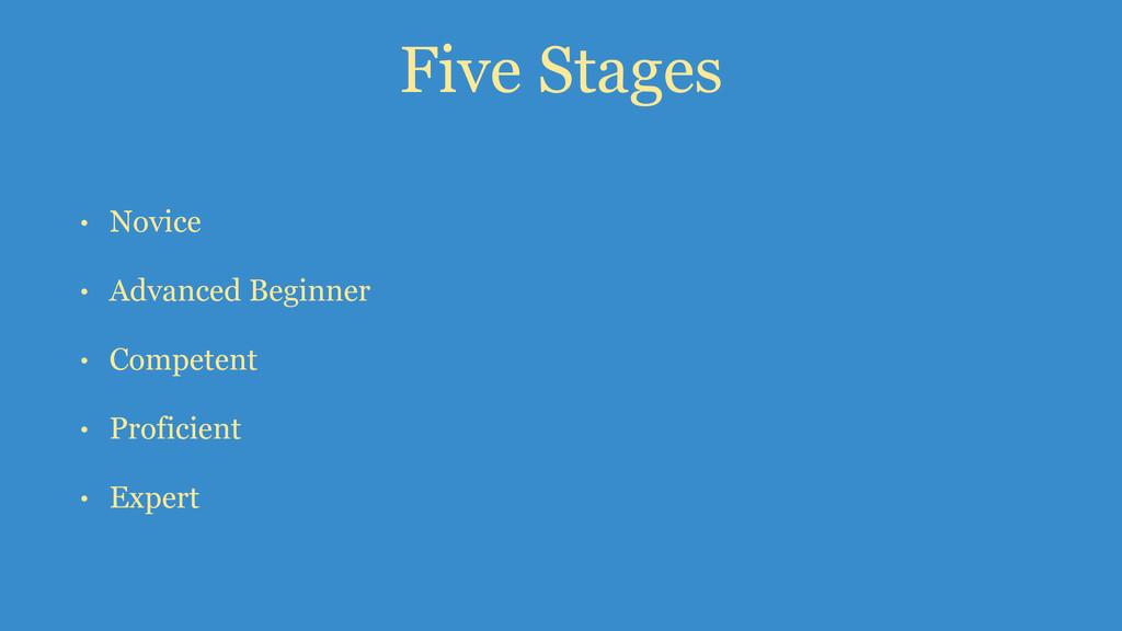 Five Stages • Novice • Advanced Beginner • Comp...