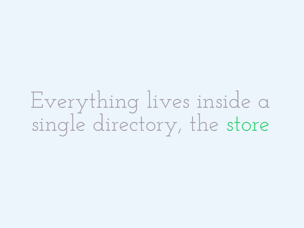 Everything lives inside a single directory, the...