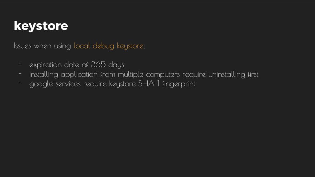 keystore Issues when using local debug keystore...