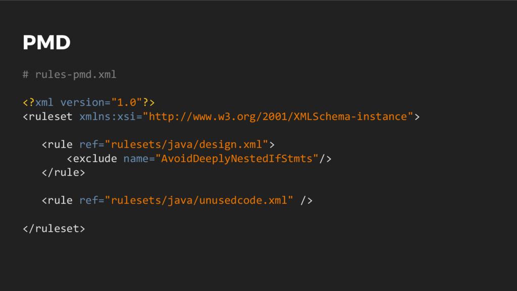 "PMD # rules-pmd.xml <?xml version=""1.0""?> <rule..."