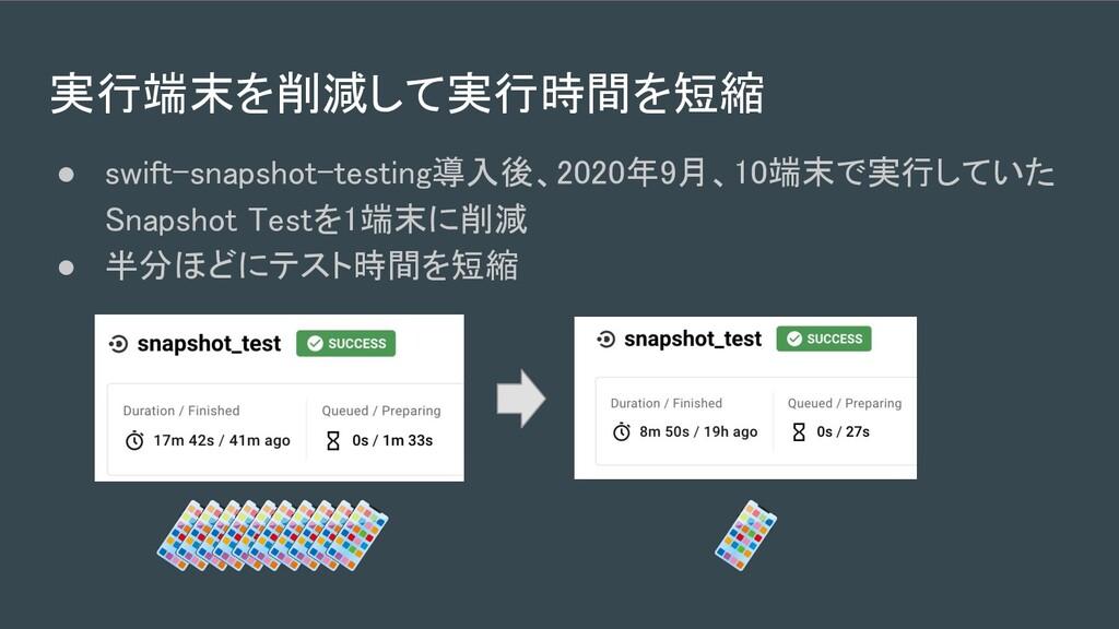 実行端末を削減して実行時間を短縮 ● swift-snapshot-testing導入後、2...